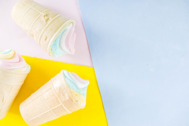 Glace arc-en-ciel multicolore licorne pastel