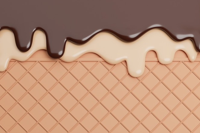 Glace au chocolat et vanille fondue sur fond de gaufrette,