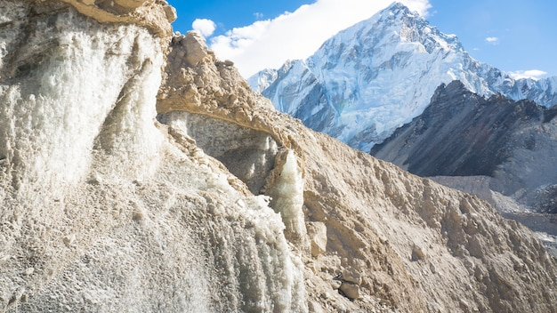 Glacier au camp de base de l'everest au népal