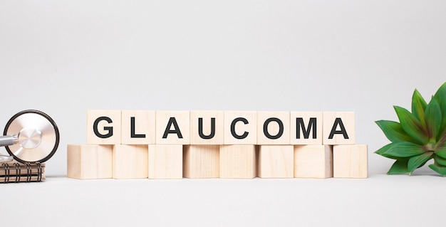 Glaucoma mot fait avec concept de blocs en bois