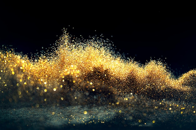 Glitter bombs grunge, paillettes d'or abstrait défocalisé twinkly lights background.