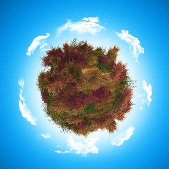 Globe 3d avec heathr et fougère