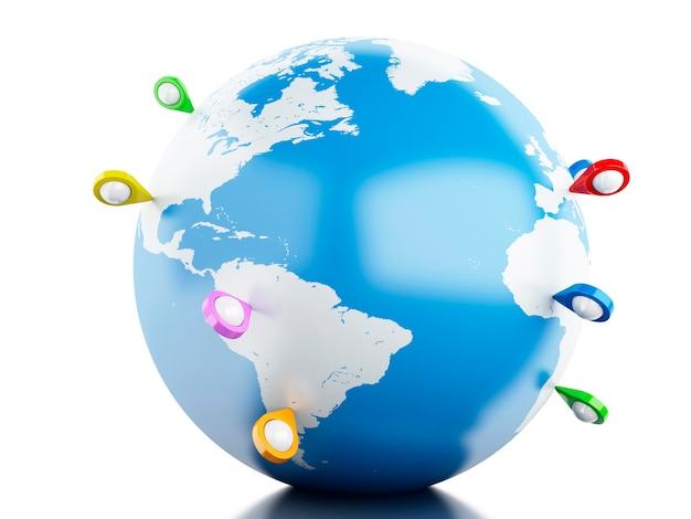 Globe 3d avec un pointeur de carte.