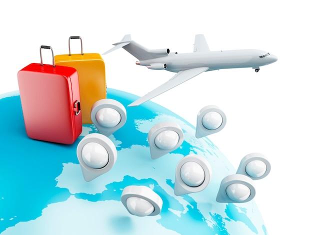 Globe 3d avec pointeurs de carte, avion et valise.
