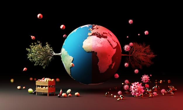 Globe avec arbre et fruits et coronavirus dans le concept d'avertissement rendu 3d