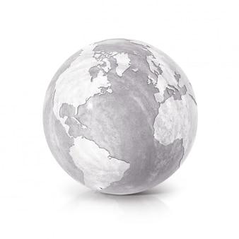 Globe en ciment 3d illustration amérique du nord et du sud carte sur blanc isolé