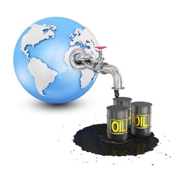 Le globe avec une conduite d'huile à partir de laquelle le pétrole coule sur des barils