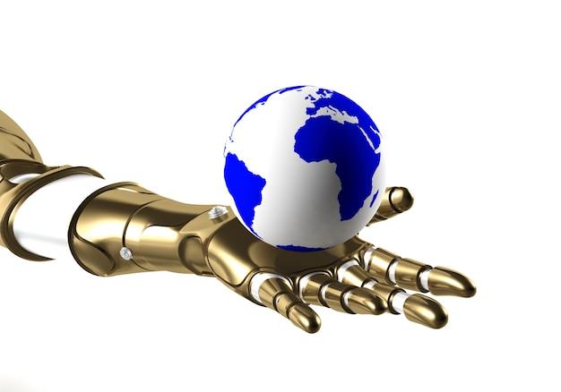 Globe dans la main du robot, rendu 3d