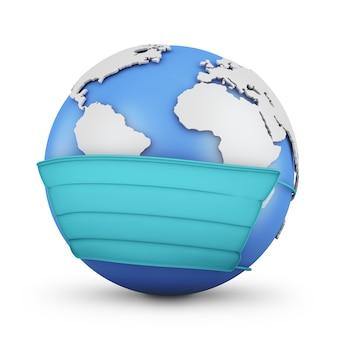 Globe dans un masque de protection sur un blanc