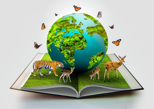 Le globe est sur le livre et il y a des animaux sauvages tels que des tigres, des cerfs et des papillons à côté du monde.