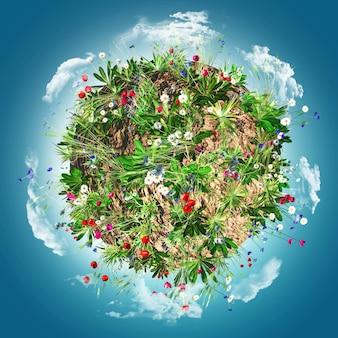 Globe avec des fleurs sauvages et des nuages
