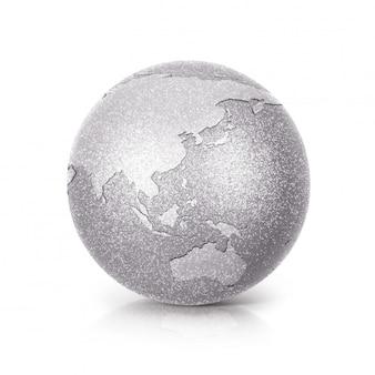 Globe glitter argent 3d illustration asie et australie carte sur blanc isolé