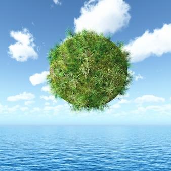 Globe herbeux 3d flottant sur un paysage océanique