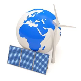 Globe miniature avec moulin à vent et panneaux solaires
