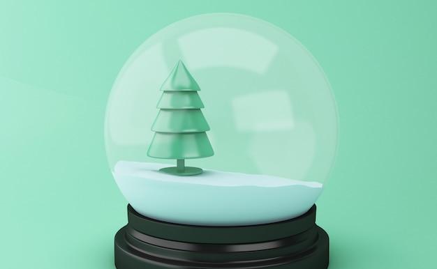 Globe de neige 3d avec arbre de noël abstrait.