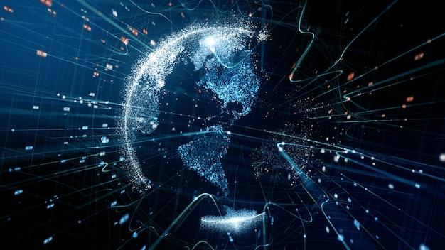 Globe numérique abstrait - rendu 3d d'un réseau de données de technologie scientifique.