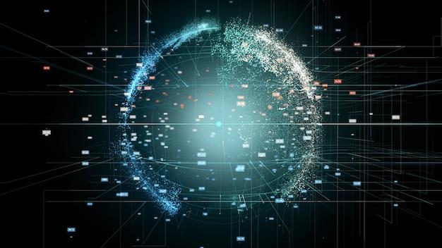 Globe numérique abstrait. rendu 3d d'un réseau de données de technologie scientifique.