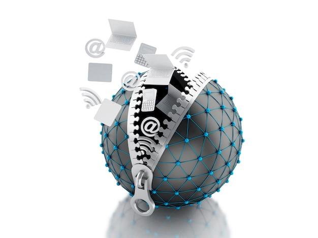 Globe de réseau 3d avec fermeture à glissière. concept de communication réseau.