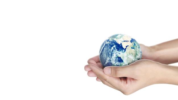 Globe, terre en main humaine. image de la terre fournie par la nasa