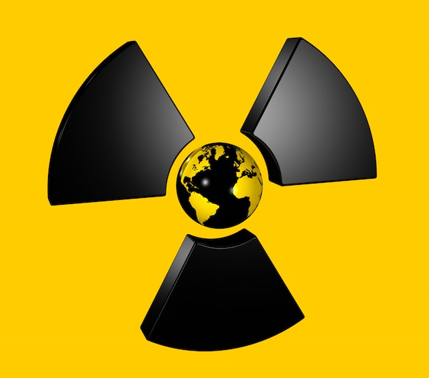 Globe terrestre 3d isolé au centre d'une icône de symbole radioactif