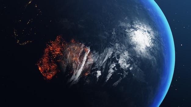 Globe terrestre avec carte de l'australie tout brûlé et en feu
