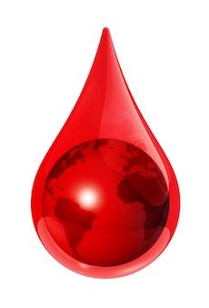 Globe terrestre dans une goutte de sang - illustration 3d