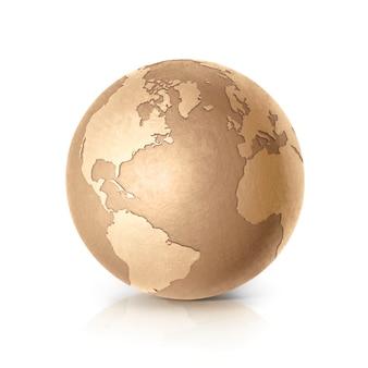 Globe terrestre doré