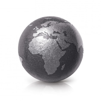 Globe terrestre en fer noir