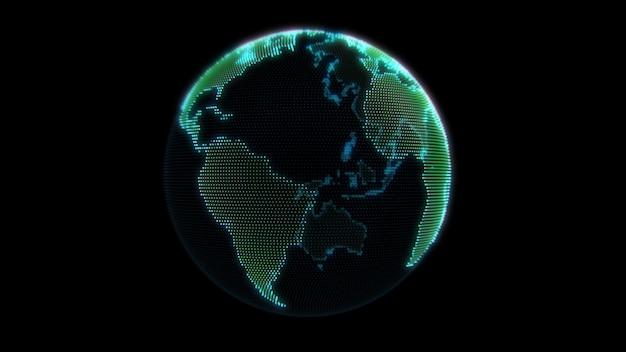 Globe terrestre points néon.