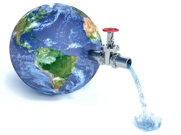 Globe terrestre avec robinet d'eau laissant tomber l'eau