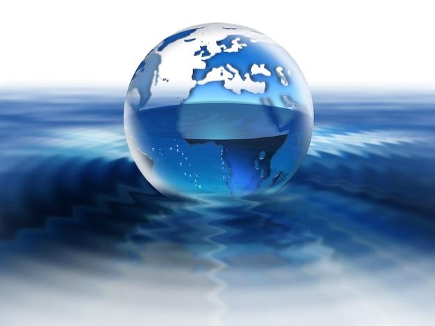 Globe translucide rempli à moitié d'eau dans l'eau