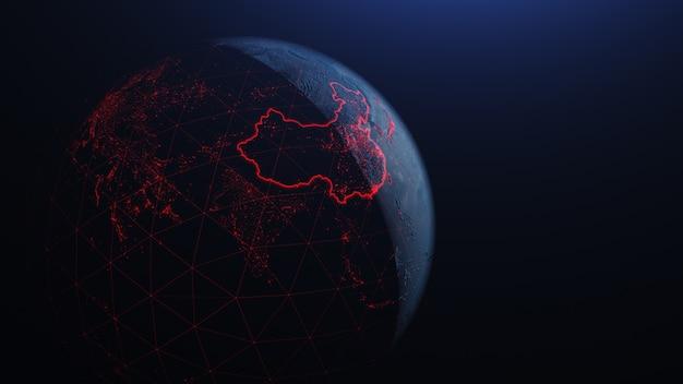 Un globe avec le virus corona chinois se propage en asie