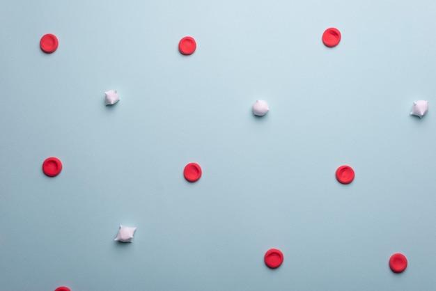 Globules rouges et blancs médicaux à plat. globules rouges et leucocytes sur fond bleu.