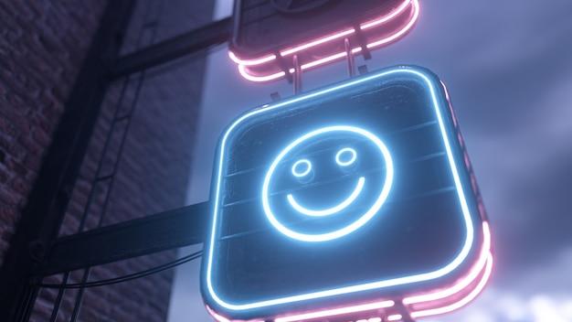 Glowing allume les enseignes au néon avec des émoticônes drôles et tristes dans le contexte d'un ciel nuageux.