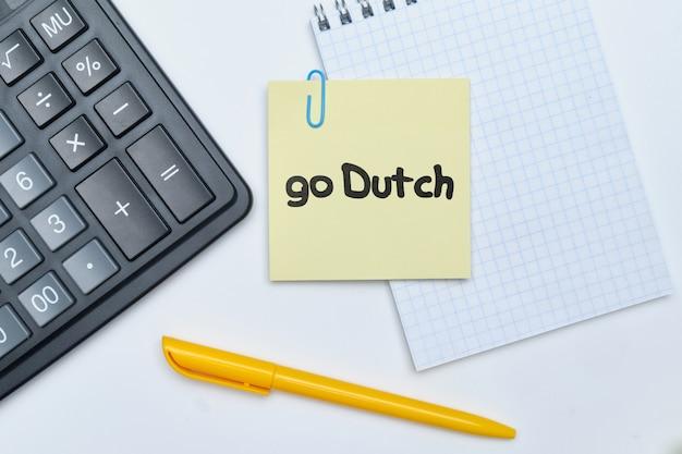 Go dutch - lettrage à la main anglais idiome argent