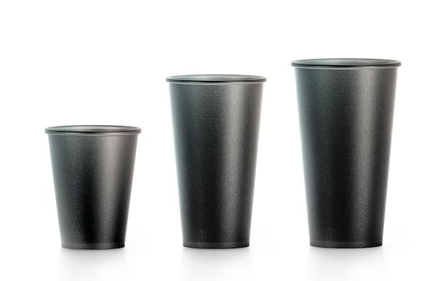 Gobelet en papier jetable noir blanc s isplated, grand, moyen et petit