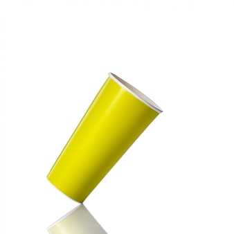 Gobelet en papier vert blanc pour boisson gazeuse ou café.