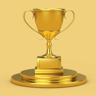 Golden award trophy cup sur un piédestal d'or sur fond jaune. rendu 3d