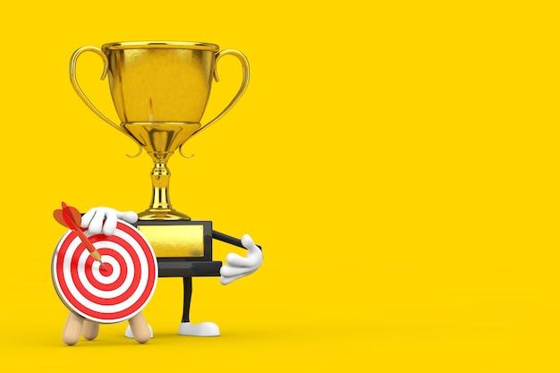 Golden award winner trophy mascot person personnalité avec cible de tir à l'arc et fléchettes au centre sur fond jaune. rendu 3d