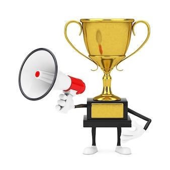Golden award winner trophy mascot personne personnage avec mégaphone rétro rouge sur fond blanc. rendu 3d