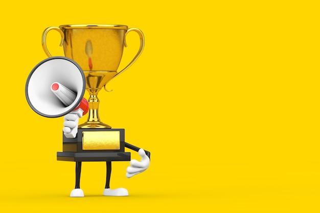 Golden award winner trophy mascot personne personnage avec mégaphone rétro rouge sur fond jaune. rendu 3d