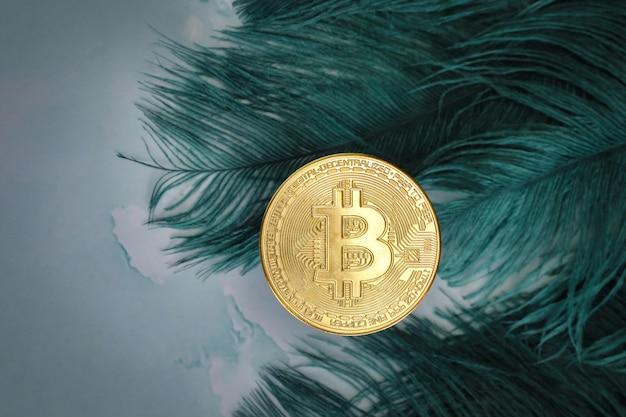 Golden bitcoins cryptocurrency vue de dessus pile de pièces numériques sur fond de plumes vertes de table de bureau en marbre gris. texte vierge à plat. espace de copie pour le mot. conception en béton