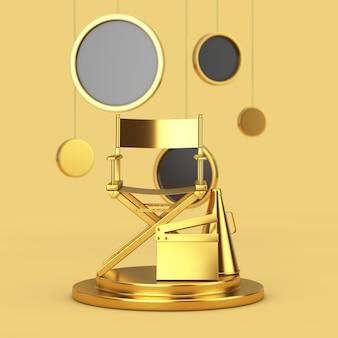 Golden director chair, movie clapper et megaphone sur un piédestal doré avec des cercles abstraits suspendus sur un fond jaune. rendu 3d