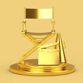 Golden director chair, movie clapper et mégaphone sur un piédestal doré sur fond jaune. rendu 3d