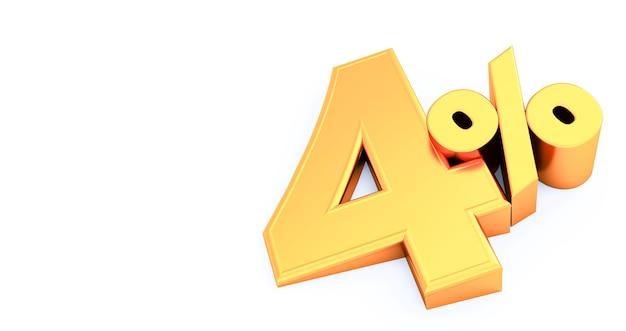 Golden four 4 pour cent isolé., 4 pour cent de réduction, rendu 3d