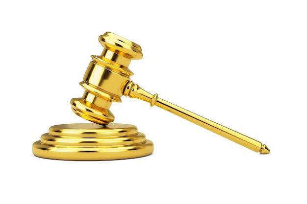 Golden judge gavel et sound block sur fond blanc. rendu 3d