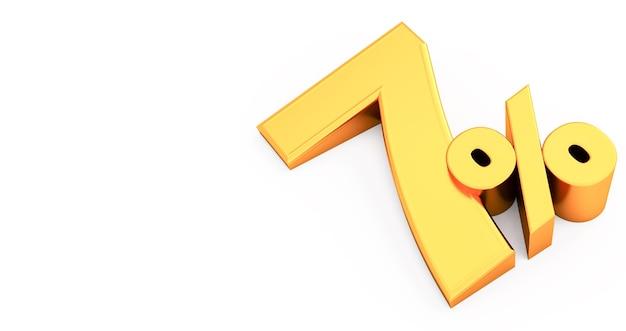 Golden seven 7 pour cent isolé., 7 pour cent de réduction, rendu 3d