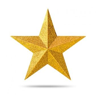 Golden star avec texture de paillettes isolée sur fond blanc.