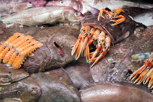 Goosefish cru et autres fruits de mer