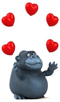 Gorille 3d drôle jonglant avec les coeurs